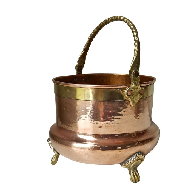 Brass Feet And Handle Copper Planter - Image 1 of 7