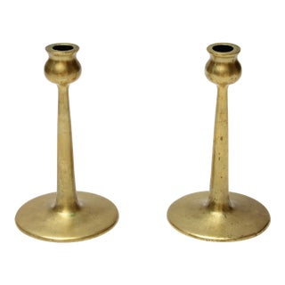 Pair of Petite Mid-Century Modern Turned Brass Candlesticks After Jarvie For Sale
