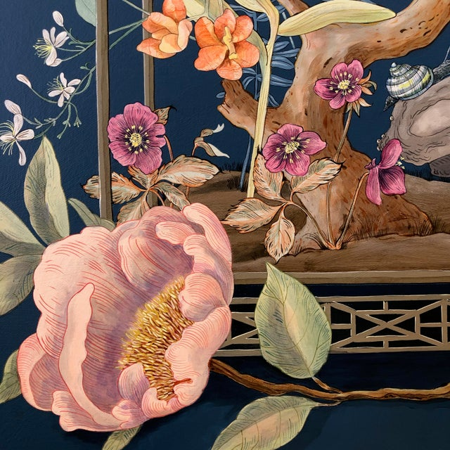 """""""Open House"""" Bird Terrarium Chinoiserie Painting by Allison Cosmos For Sale In Los Angeles - Image 6 of 7"""