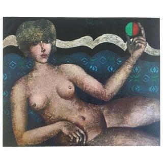 """Franco Gentilini Rare Vintage 1965 Mid Century Modern Limited Edition Lithograph Print """" Nudo Sul Divano """" 1961 For Sale"""