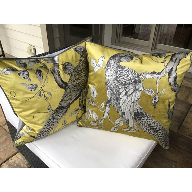 """This listing is for 22"""" down filled pillows that are fashioned from a gorgeous fabric from Zoffany. They feature a..."""