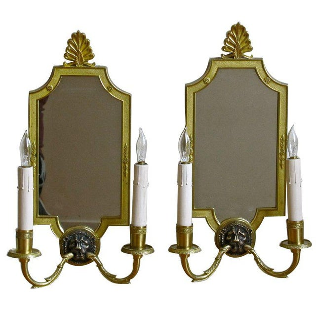 1940s French Brass Mirrored Lion Wall Sconces - a Pair For Sale - Image 10 of 11