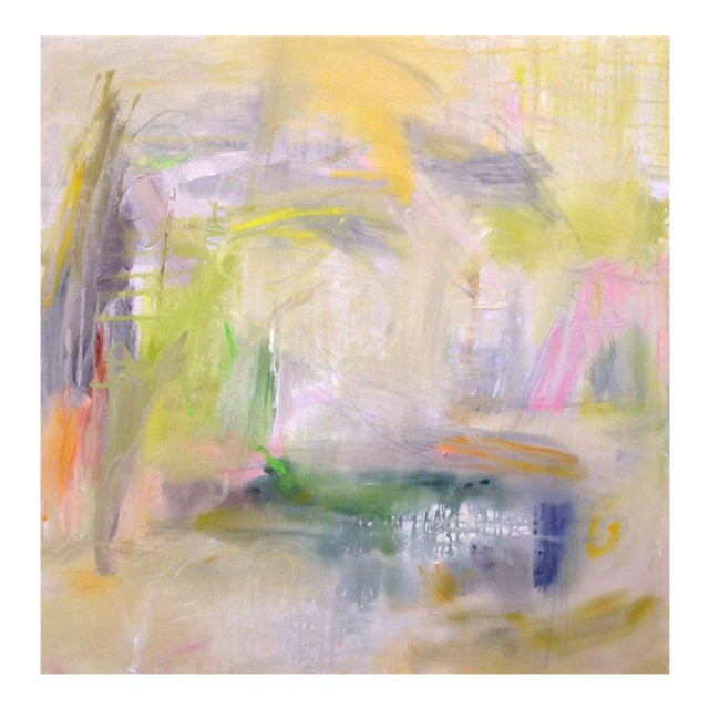"Large Abstract Painting by Trixie Pitts ""Misty Morning"" For Sale"