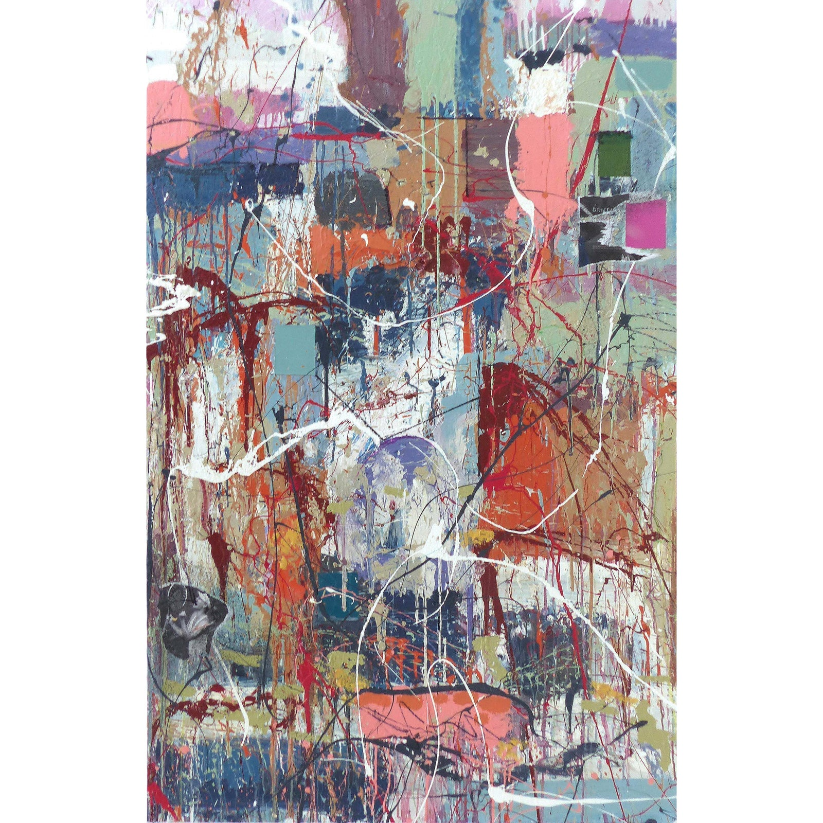 Abstract Painting by William Phelps Montgomery 'Don't Scream' Mixed Media,  2019