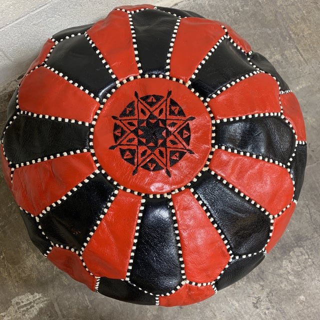Black & Red Leather Moroccan Pouf For Sale In Richmond - Image 6 of 9