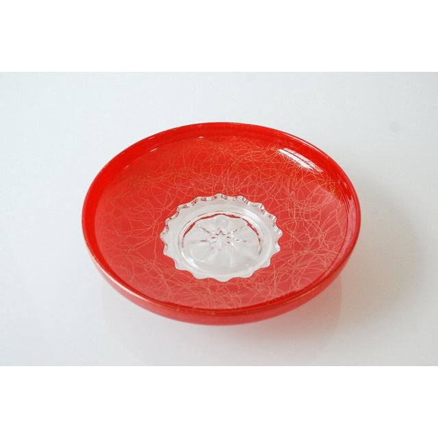 Large Red Mid-Century Glass Bowl - Image 3 of 6