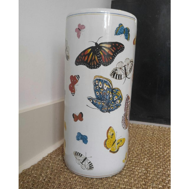 Butterfly Handpainted Ceramic Umbrella Stand For Sale - Image 4 of 9