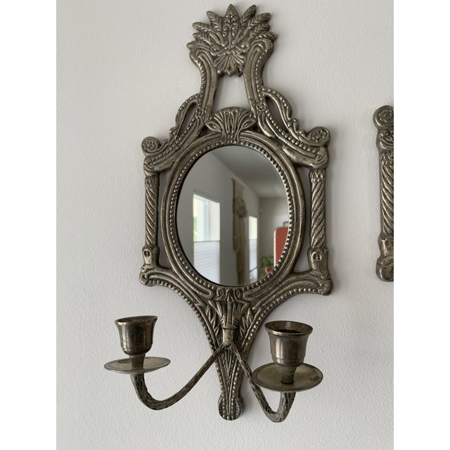 Mirrored Candle Wall Sconces - a Pair For Sale - Image 4 of 8