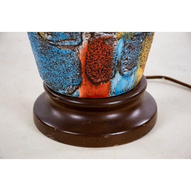 Wood Mid-Century Modern Italian Volcanic Glazed Pottery Ceramic Table Lamps - Set of 2 For Sale - Image 7 of 13