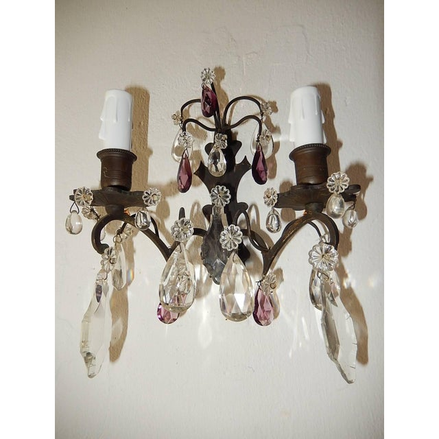 French Burnished Brass Amethyst and Clear Crystal Prisms Sconces For Sale - Image 9 of 11
