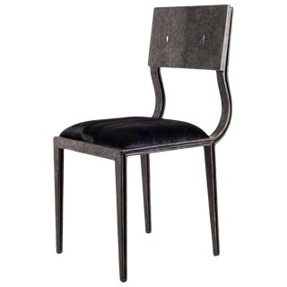 Lola Chair in Coal Black Shagreen With Upholstered Seat by R&y Augousti For Sale