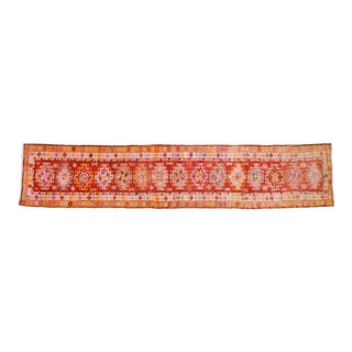 "1960s Boho Chic Burnt Orange and Red Wool Kurdish Runner - 2'11""x14'4"""