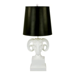 Chapman White Ceramic Ram's Head Table Lamp For Sale