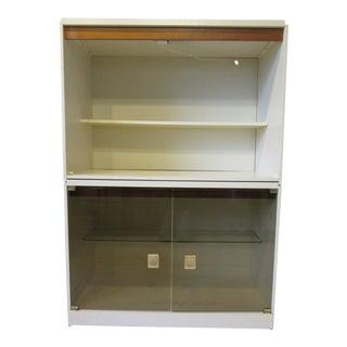70's Walnut / Lacquer 2 Pc. Storage Cabinet / Bookcase For Sale