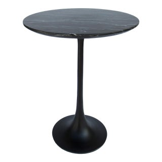 Vintage C1980s Mid-Century Knoll-Like Powder Coated Black Tulip Side/Drinks Table With Marble Top For Sale