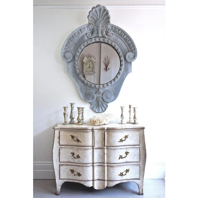 An exceptional, grand scale 19th century Oeil de Boeuf window mirror in wonderful original weathered zinc condition, and...