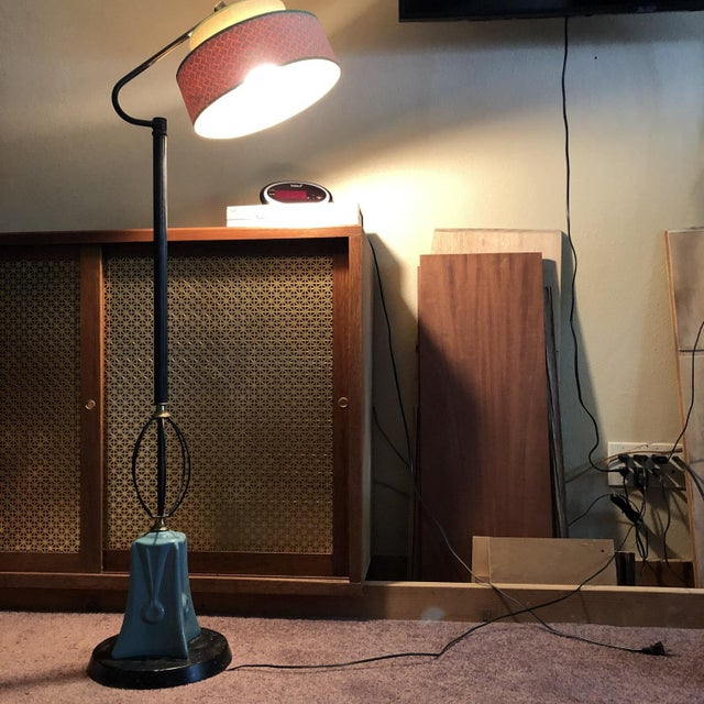 Gorgeous vintage Art Deco design atomic mid modern century pottery floor lamp with fluted metal stem, scrollwork accent...