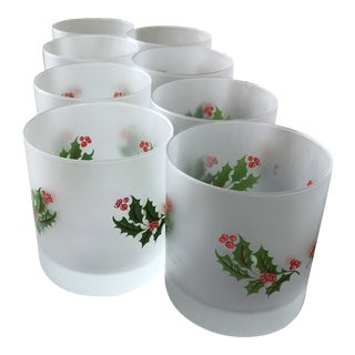1960s Vintage Italian Frosted Holiday Glasses- Set of 12 For Sale