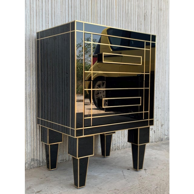New Pair of Mirrored Nightstands in Black Mirror With Two Drawers For Sale - Image 4 of 13