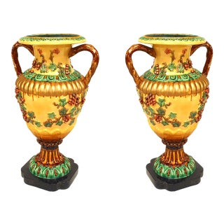 Italian Neoclassic Style Majolica Porcelain Floor Vases - a Pair For Sale