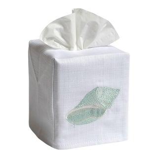 Aqua Conch Tissue Box Cover in White Linen & Cotton, Embroidered For Sale