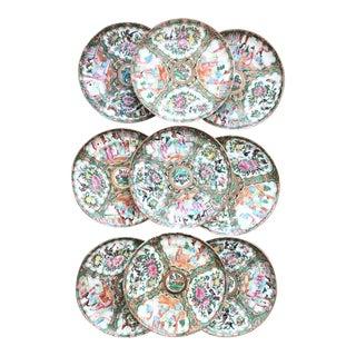"19th C. Rose Medallion 8.5"" Plates - Set of 9 For Sale"