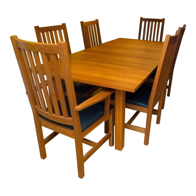 Mission Style Brazillian Cherry Wood Dining Set From Crate & Barrel For Sale