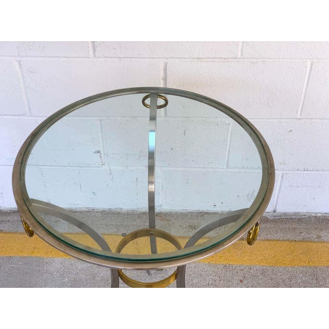 Maison Jansen Neoclassical Steel and Brass Gueridon For Sale In Atlanta - Image 6 of 11