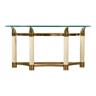 20th C. Tommaso Barbi Italian Tusk Demilune Console With Glass Top For Sale
