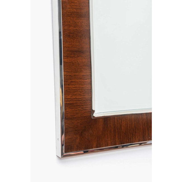 Karl Springer Style Mirror with Polished Chrome and Mahogany Frame, 1980s - Image 3 of 10
