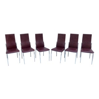 Vintage Post Modern Chrome Dining Chairs - Set of 6 For Sale