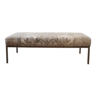 Custom Made Vintage Textile and Iron Cocktail Ottoman Bench For Sale