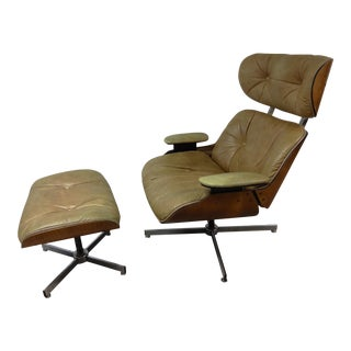 Plycraft Eames Era Leather Lounge Chair & Ottoman - A Pair