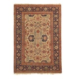 Image of Antique Kayseri Beige and Blue Wool Rug 4′1″ × 5′9″ For Sale