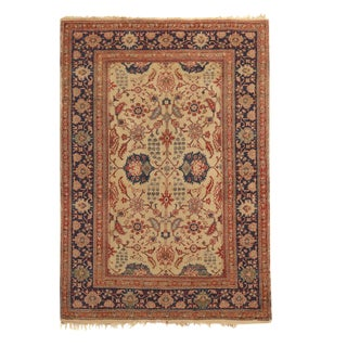 Antique Kayseri Beige and Blue Wool Rug 4′1″ × 5′9″ For Sale