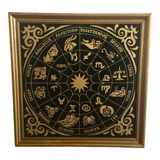 Mid 20th Century Hollywood Regency Acrylic Zodiac Chart Painting For Sale