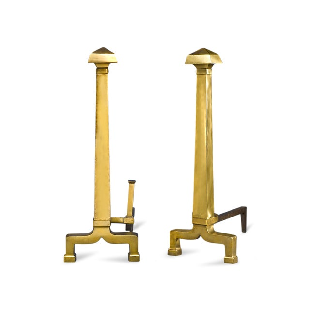 Traditional Large Pair Of Andirons For Sale - Image 3 of 3