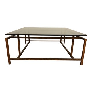 Komfort Danish Mid Century Rosewood and Smoked Glass Coffee Table For Sale