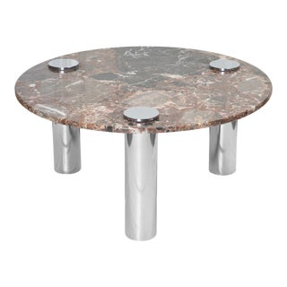 Leon Rosen for Pace Collection Style Chrome & Marble Cocktail Table For Sale