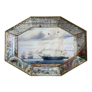 Melinda Marye Glass Schooner Ship Collage Platter For Sale