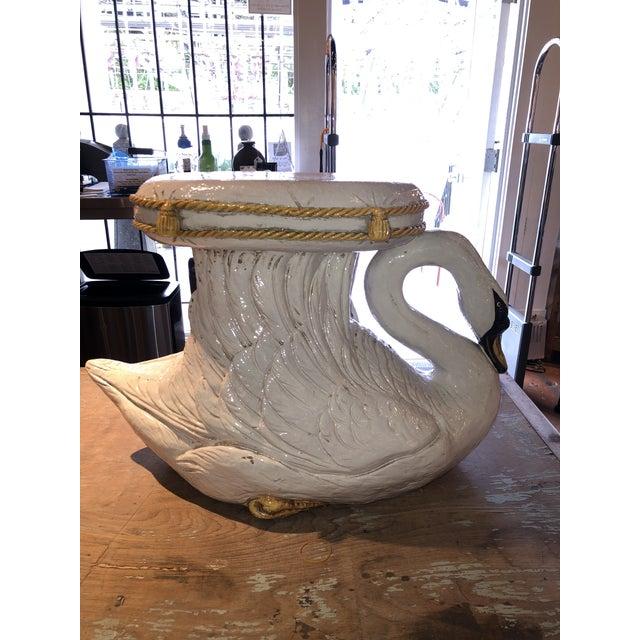 Italian Italian Glazed Terracotta Swan Garden Seat For Sale - Image 3 of 13