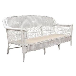 1960s White Wicker Sofa For Sale
