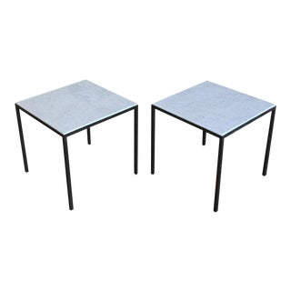 Mid-Century Modern Patinated Brass and White Marble Square Side Tables
