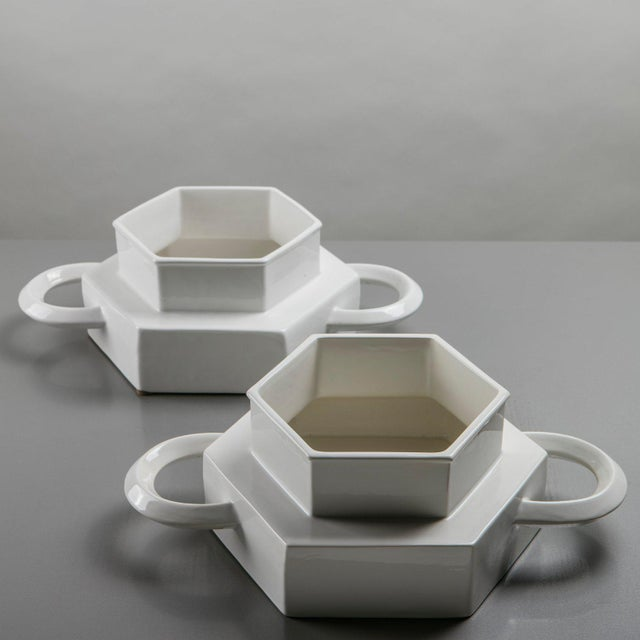 Mid-Century Modern Pair of Ceramic Centerpieces by Gabbianelli For Sale - Image 3 of 9