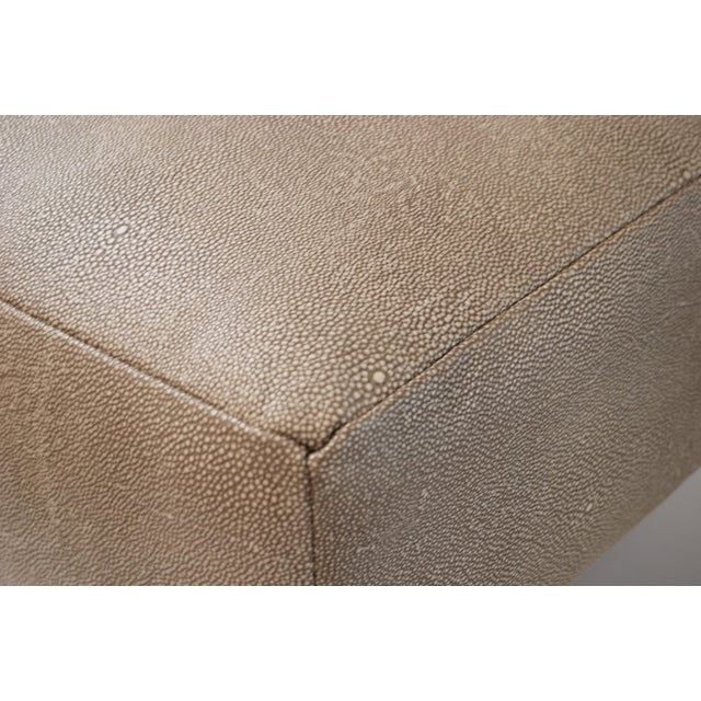 Modern Eames-Style Ottoman in Faux Shagreen For Sale - Image 3 of 5