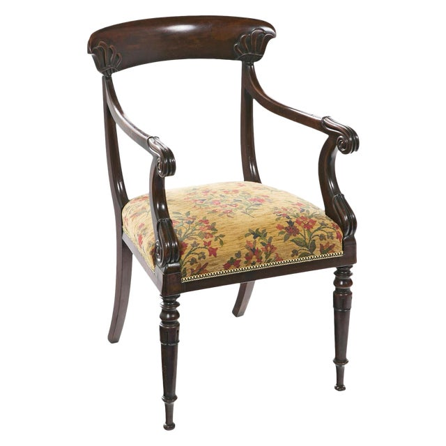 French Restoration Mahogany Armchair For Sale