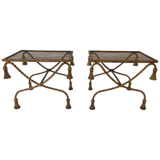 Pair of 1960s Italian Gilt Iron Tassel Benches For Sale