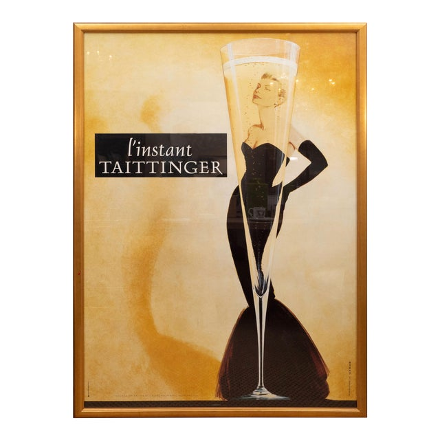 "Oversized ""I' instant Taittinger"" Champagne Poster For Sale"