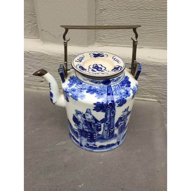 20th Century Chinoiserie Teapot Brass Handle and Brass Trim For Sale - Image 9 of 9