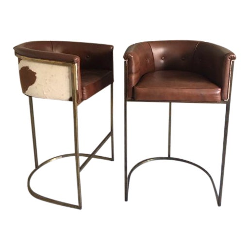 Arteriors Calvin Leather Bar Stools - A Pair - Image 1 of 6